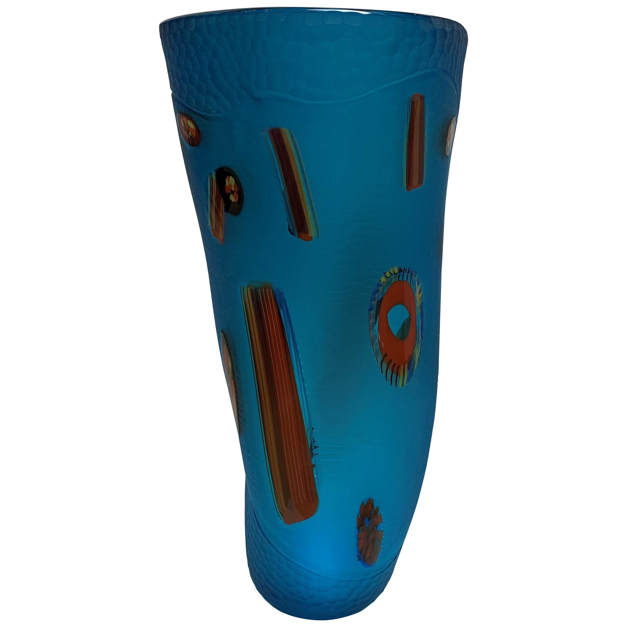 Aqua Monumental Organic Freeform Venetian Art Glass Vase, Signed by David Dona