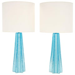 Aqua Murano Pulegoso Glass Lamps