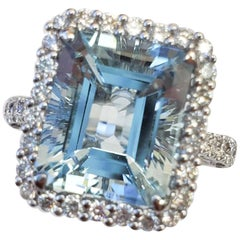 Aqua Stone, Emerald Cut with White Gold and Diamond Ring, 17694
