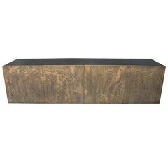Aqua Sun art sideboard in Acid Etched Brass by Studio Belgali