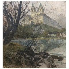 "Aqua Tint Etching ""Melk Monastery on the Danube"" by Luigi Kasimir"