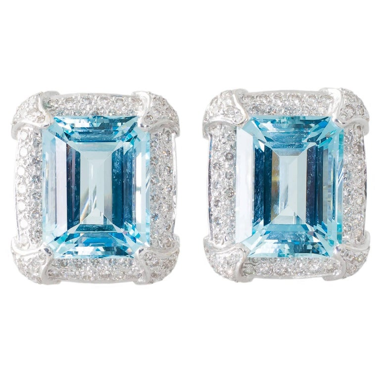 Aquamarine and Diamond Clip-On Earrings