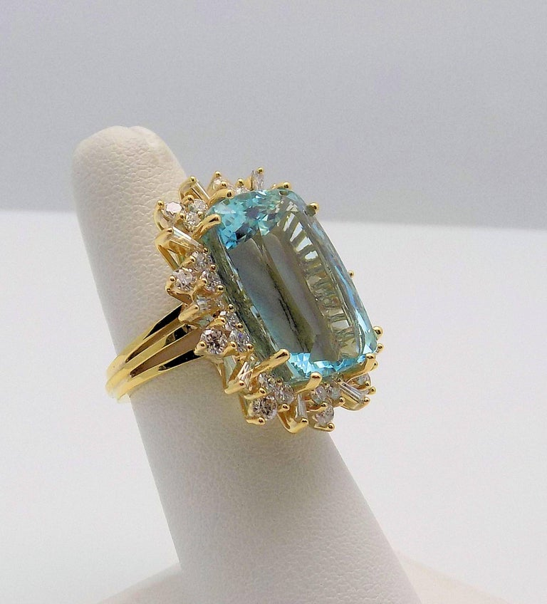 Cushion Cut Aquamarine and Diamond Ring For Sale