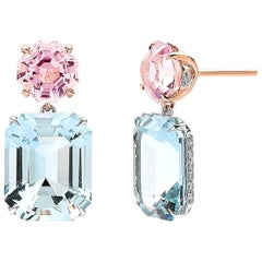 Aquamarine 12.43 Carat, Pink Tourmaline 3.43 Carat & Diamond 0.34 Carat Earrings
