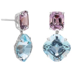 Paolo Costagli Aquamarine 13.03 Carat, Spinel 9.12 Carat and Diamond Earrings