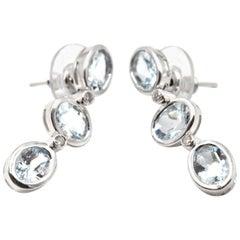Aquamarine 14 Karat White Gold Drop Earrings