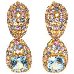 Aquamarine 1.70 Carat Multi-Color Sapphire Yellow 18 Karat Gold Riviera Earrings