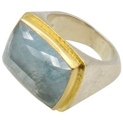 Aquamarine 18 Karat and Sterling Silver Chunky Ring
