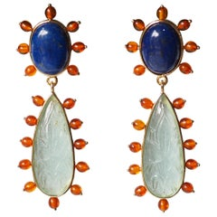 Aquamarine 18 Karat Gold Amber Lapis Earrings