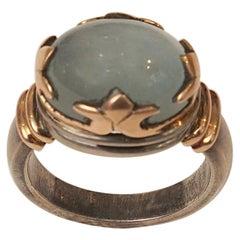 Aquamarine 18 Karat Gold and Sterling Ring