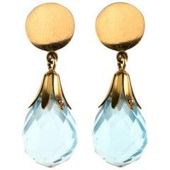 Aquamarine 18 Karat Gold Earrings