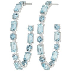 Aquamarine 18 Karat Gold Hoop Earrings