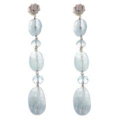 Aquamarine 18 Karat White Gold Dangle Earrings Handcrafted in Italy