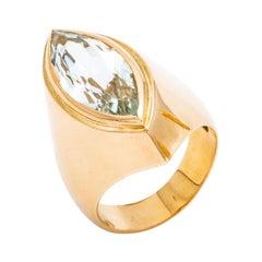 Aquamarine 18k Gold Navette Ring