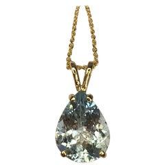 Aquamarine 3.00 Carat Light Blue Pear Teardrop Cut Yellow Gold Pendant Necklace