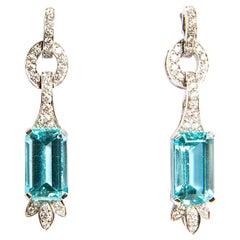 Aquamarine 7.47 Diamond 0.79 White Gold 18 Karat Dangle Drop Earrings