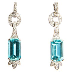 Aquamarine 7.47 Diamond 0.79 White Gold 18 Karat Dangle Drop Earrings