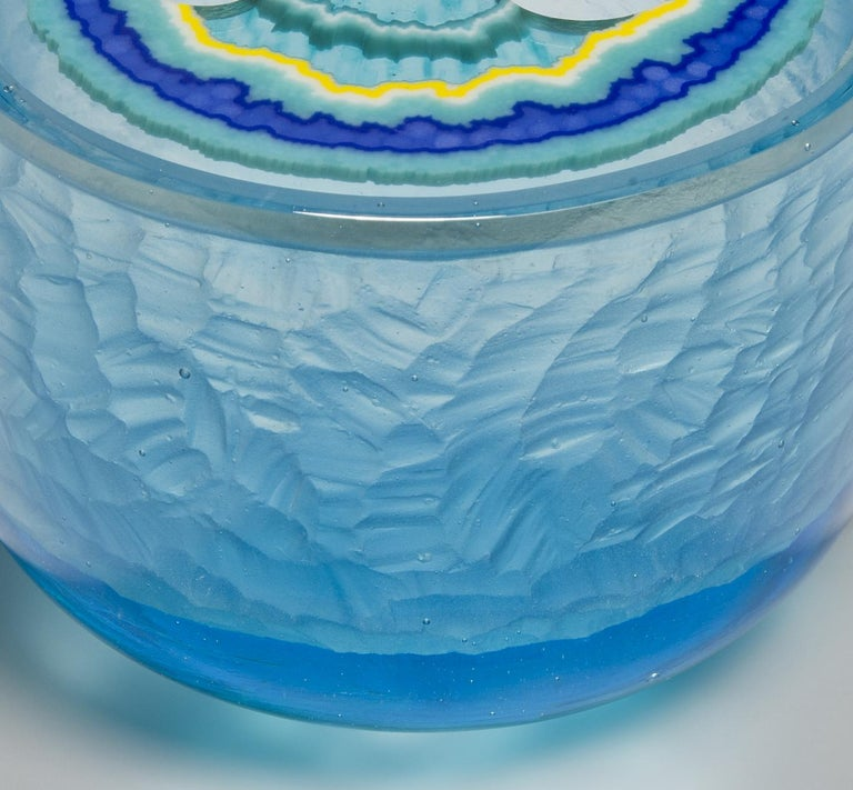 British Aquamarine Agate Geode, a Blue & Turquoise Cast Glass Sculpture by Angela Jarman For Sale
