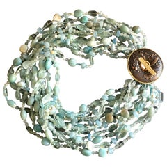 Aquamarine Amazonite 18 Karat Gold Diamond Necklace