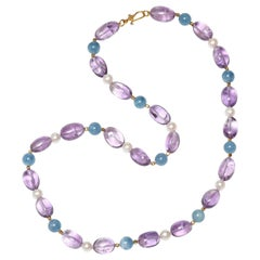 Aquamarine, Amethyst and Freshwater Pearl Necklace