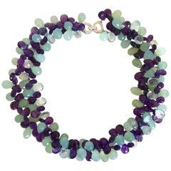 Aquamarin, Amethyst, blauer Topas, Kristall Halskette, 18 Karat Gold Diamanten