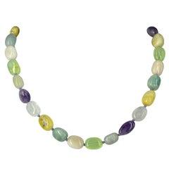 Aquamarine Amethyst Prehnite Opal Morganite Rose Quartz Silver Necklace