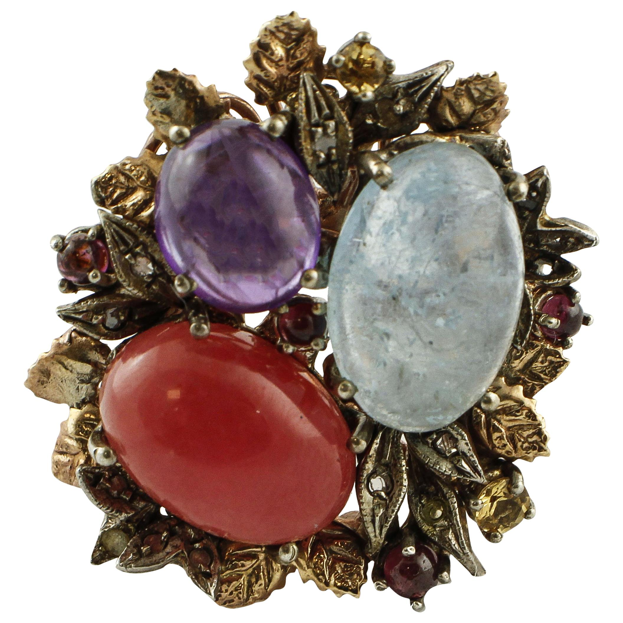Aquamarine Amethyst Red Chalcedony Yellow Topaz Garnet Rose Gold and Silver Ring