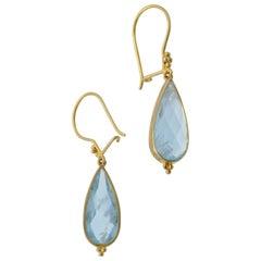 Aquamarine Pear shaped Rose cut and 18 Karat Yellow Gold Drop Earrings