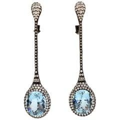 Aquamarine and 4.30 Carat  Diamond Long Drop 18 Karat Earrings