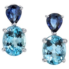 Aquamarine Oval and Blue Sapphire Pear Shape White Gold Drop Post Earrings