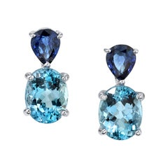 Aquamarine and Blue Sapphire Earrings 18 Karat White Gold