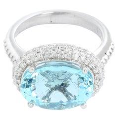 Aquamarine and Diamond 14 Karat White Gold Ring