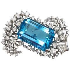 Aquamarine and Diamond 14 Karat White Gold Brooch