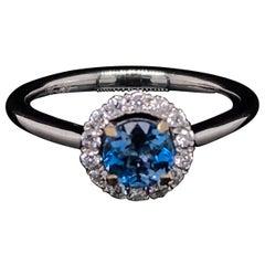 Aquamarine and Diamond 18 Karat White Gold Round Cluster Ring