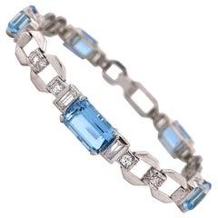 Aquamarine and Diamond Art Deco Platinum Line Bracelet Estate Fine Jewelry