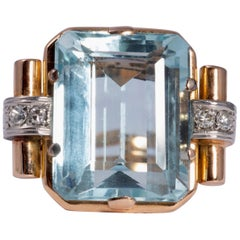 Aquamarine and Diamond Art Deco Ring