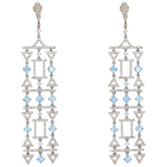 Aquamarine and Diamond Chandelier Earrings in 18 Karat Gold and Silver