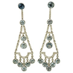 Aquamarine and Diamond Chandelier Earrings in Platinum