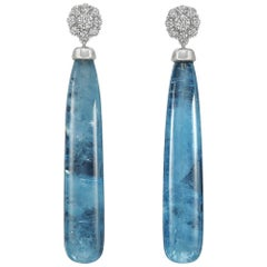 Aquamarine and Diamond Cluster Drop Earrings