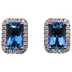 Aquamarine and Diamond Cluster Emerald Shape Stud Earrings 18 Karat White Gold