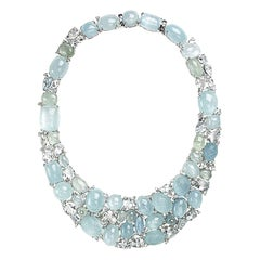 Aquamarine and Diamond Cluster Necklace