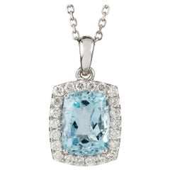 Aquamarine and Diamond Cluster Pendant