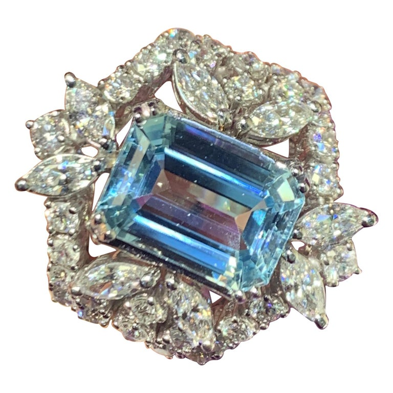 Aquamarine and Diamond Cocktail Ring For Sale