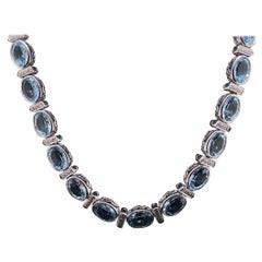 Aquamarine and Diamond Collar Necklace in 18 Karat White Gold