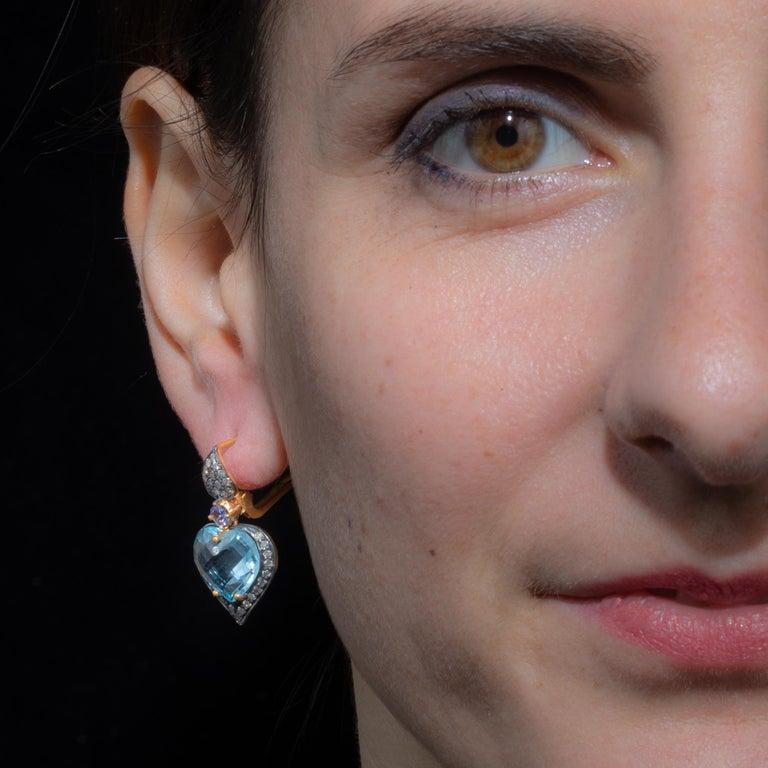 Heart Cut Aquamarine and Diamond Drop Earrings For Sale