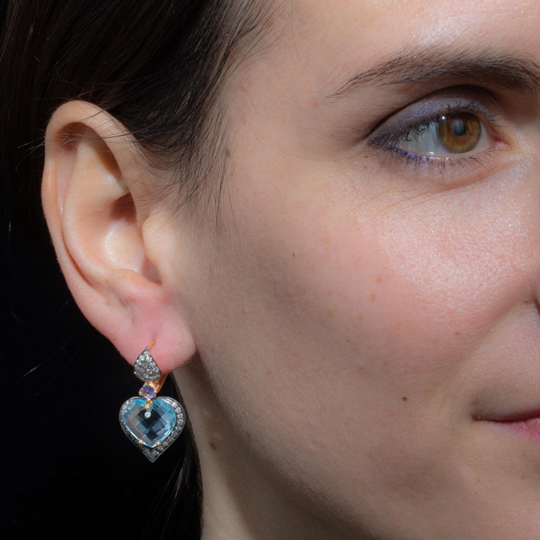Aquamarine and Diamond Drop Earrings In Excellent Condition For Sale In Nantucket, MA