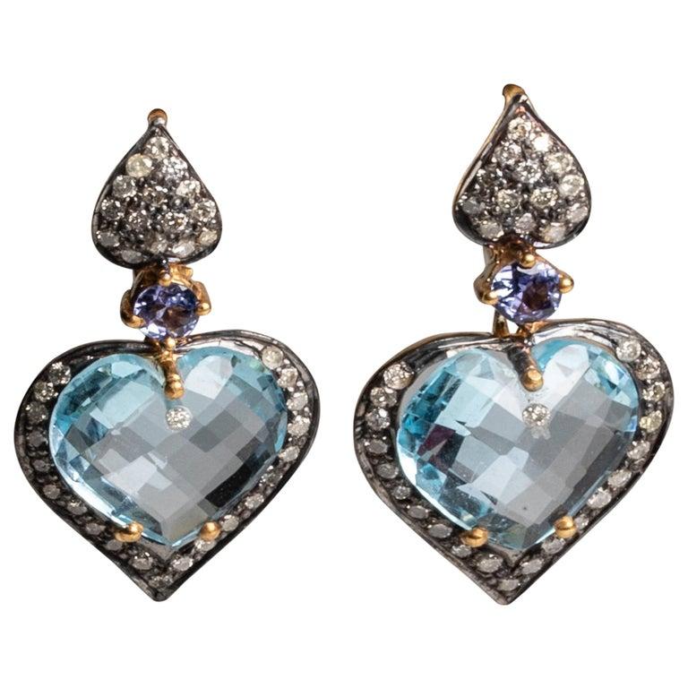 Aquamarine and Diamond Drop Earrings For Sale
