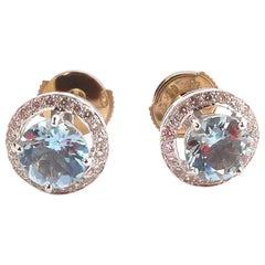 Aquamarine and Diamond Ear Stud Mounted in 18 Karat Gold