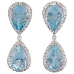 Aquamarine and Diamond Earring Studded in 18 Karat White Gold
