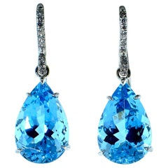 Aquamarine and Diamond Earrings in 18 Karat by Mish, New York